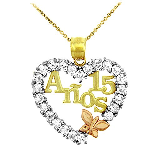 14k Tri Color Gold Sweet 15 Anos Quinceanera Necklace with Cubic Zirconia Heart with Butterfly, 20