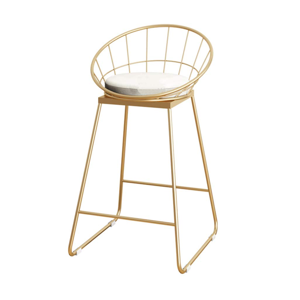 Industrial Barstools Chair Footrest Stool with Backrest Round Cushion Seat Dining Chairs for Kitchen | Pub | Café Bar Counter Stool Gold Metal Legs Seat Height:65cm