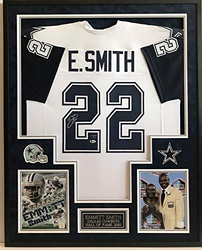 Emmitt Smith #22 Dallas Cowboys H.O.F. 10 Autographed Signed Framed Jersey Beckett Authentic - Smith Emmitt Jersey 22