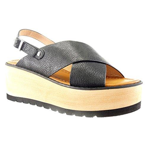 Angkorly - Zapatillas de Moda Sandalias zapatillas de plataforma abierto mujer tanga Talón Plataforma 6.5 CM - Negro