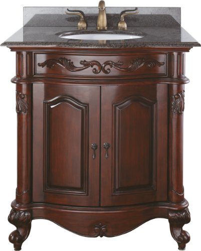 (Avanity Provence 30 in. Vanity with Imperial Brown Granite Top and Sink in Antique Cherry finish)