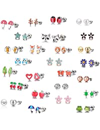 26 Pairs Stainless Steel Mixed Color Cute Fox Heart Star Ladybug Stud Earrings Set
