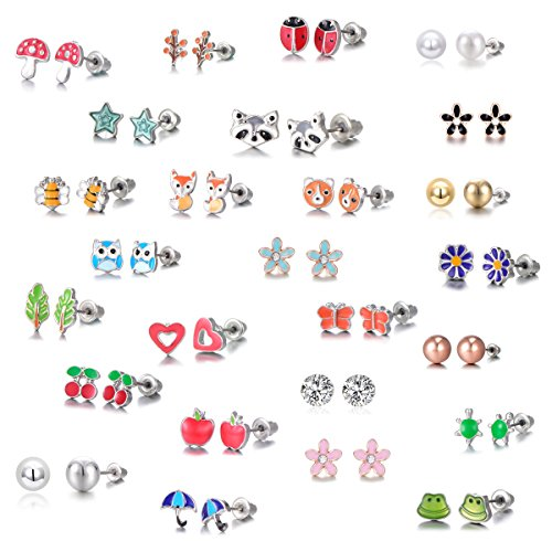 Tree Frog Ring - 21 Pairs Stainless Steel Mixed Color Cute Animals Fox Heart Star Ladybug Bee Frog Mushroom Tree Daisy Umbrella Rose Gold White Pearl Stud Earrings Set (animal tree pearl)