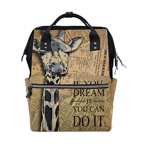 ALAZA Large Travel Backpack Purse Chic Shabby Papers Giraffe Designer High School Laptop ()