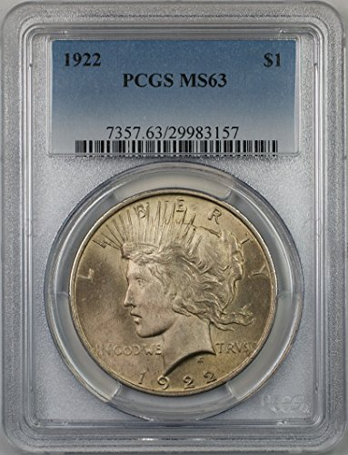 1922 Peace Silver Dollar Coin $1 PCGS MS-63 (1J)