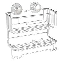 InterDesign Metro Rustproof Aluminum Turn-N-Lock Suction, Bathroom Shower Combo Basket for Shampoo, Conditioner, Soap - 2 Tiers, Silver