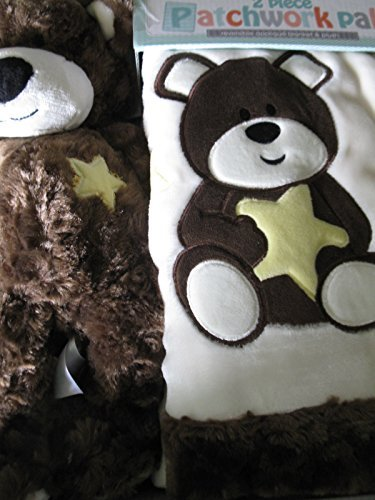 Little Miracles Patchwork Pal Reversible Applique Blanket and Plush - Bear