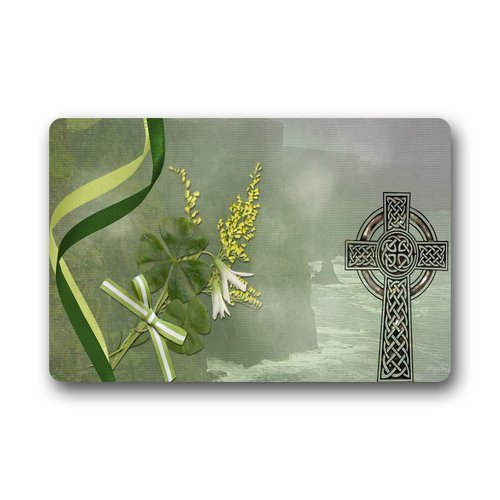 Luase Personalized Evergreen Fashion Celtic Mist Clover and Holy Cross Custom Doormat Manchine-Washable Door Floor Mat/Gate Pad 23.6