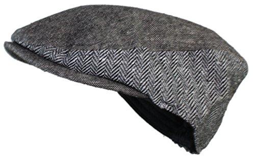 Ted and Jack - Street Easy Fully Adjustable Herringbone/Tweed Newsboy Cap in Light Grey