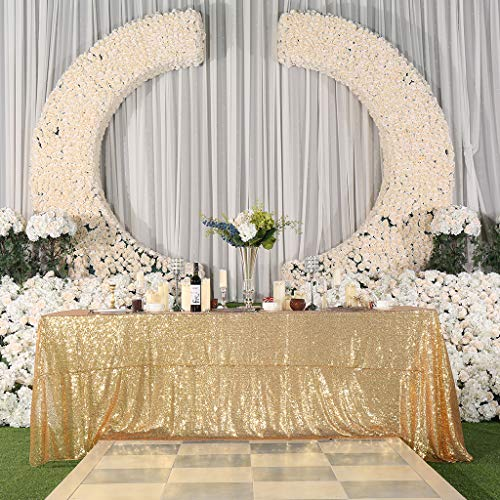 Eternal Beauty 90'' X 132'' Light Gold Sequin Tablecloth Wedding Banquet Party Rectangle Table Cover