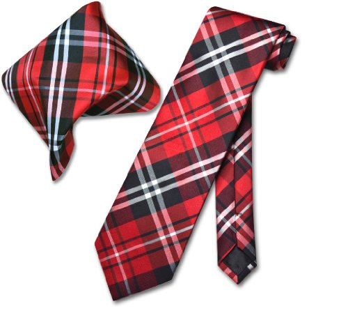 Red White PLAID NeckTie & Handkerchief Matching Tie Set ()