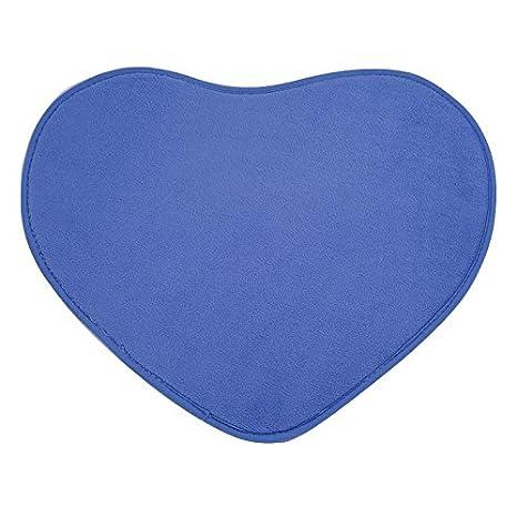 Mikolot 40x50cm Heart Shaped Non-slip Soft Coral Velvet Carpet Fluffy Rug Blue