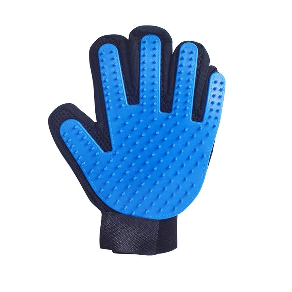 Chongwushua Pet Grooming Glove, Pet Hair Removal Mitts Massage Brush Tool with Adjustable Wrist Strap for All Short and Long Hair Pets