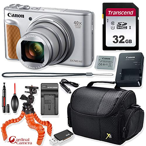 Canon PowerShot SX740 HS Digital Camera (Silver) + Prime Point & Shoot Travel Accessory Kit