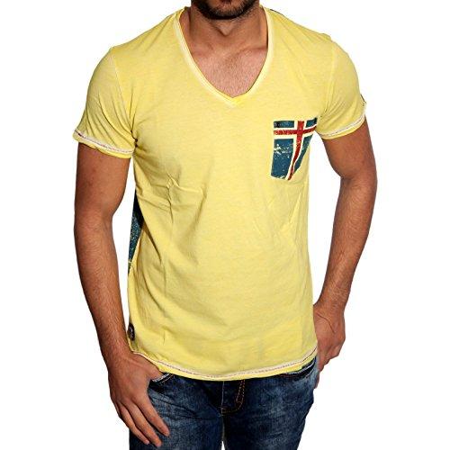 T-Shirt Poloshirt Shirt für Herren Männer Jungs Jungen A16641RN, Größe:M, Farbe:Gelb
