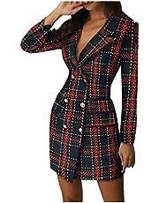 Women Blazer Dress, Double Breasted V-Neck Office Dresses Slim Trench Coat Windbreaker