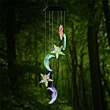 Junda Solar LED Wind Chime Portable Color Changing Windbell Outdoor LED Solar Mobile Hanging Lamp Waterproof Spiral for Garden Patio Home Party Decor