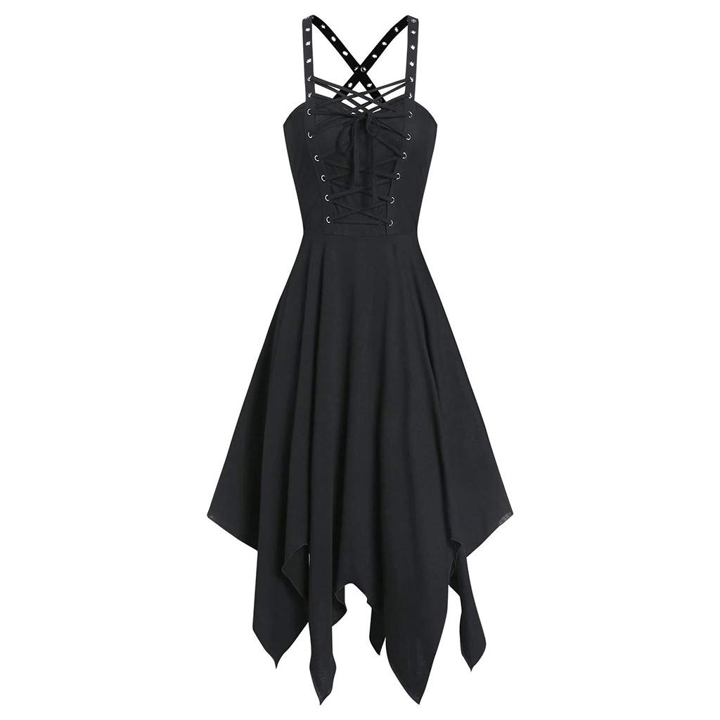 HAALIFE◕‿Women Sexy Hollow Out Backless Faux Leather Grommet Gothic Punk Dress Club Cocktail Nightclub Party Dress Black by HAALIFE Women's Clothing
