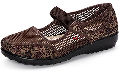 Clarsunny Women's Casual Mesh Mary Jane Slip-on Flat Dance Shoes (8.5B(M) US, Brown)