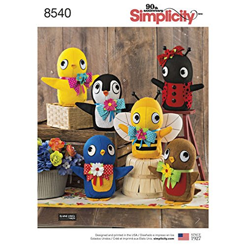 Simplicity Pattern 8540 Felt Stuffed Birds, Bee Penguin and Ladybug SEWING PATTERN