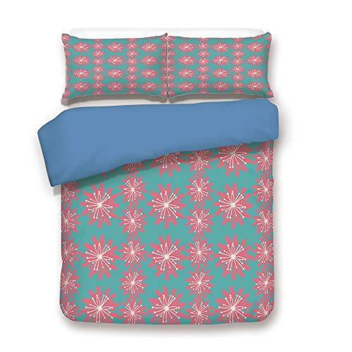 iPrint Duvet Cover Set,Blue Back,Outdoor Decor,Germinating Plants Wildflowers Twigs Sprouts Buds Lively Rustic Patio,Teal Pink White,Decorative 3 Pcs Bedding Set by 2 Pillow Shams,Queen Size