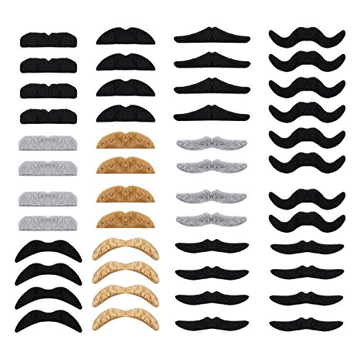 Whaline 48 Piece Self Adhesive Fake Mustache Set Novelty Mustaches for Costume and Halloween Festival Party ()