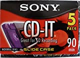 Sony C90CDT1L Blank CD-IT Audio Cassettes with Slide Case (5 Pack) (Discontinued by Manufacturer)