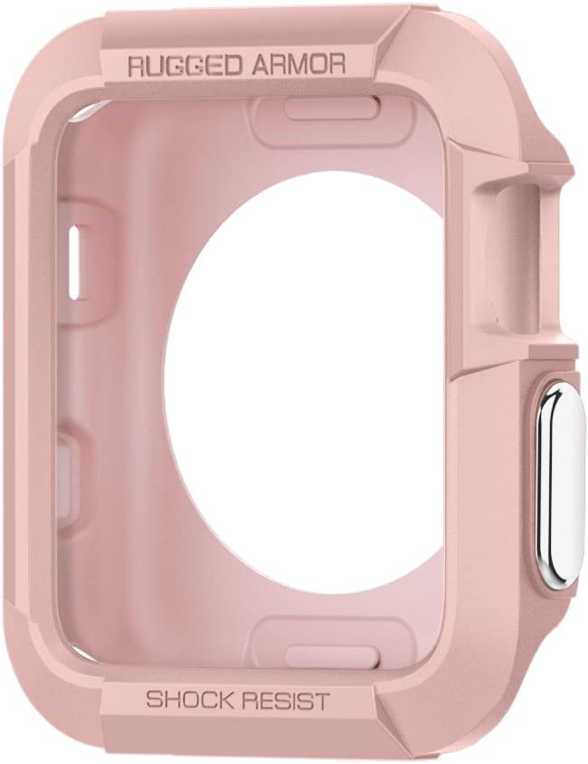 Spigen Rugged Armor Designed for Apple Watch Case for 38mm Series 3/Series 2/1/Original (2015) (Rose Gold)
