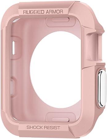 Spigen Rugged Armor Kompatibel Mit Apple Watch Hülle Für 38mm Serie 3 Serie 2 Serie 1 Roségold Elektronik