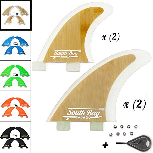 South Bay Board Co. Premium Surfboard Fins - Thruster & Quad Fiberglass Reinforced FCS Surf Fins