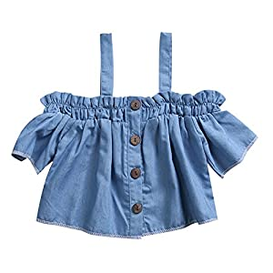 One-Piece Baby Girl Halter Buttons Short Sleeve Denim Jacket Tops Casual Outfit 0-4T (12-18 Months, Blue)