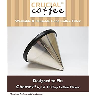 Washable & Reusable Stainless Steel Cone Coffee Filter Fits Chemex 6, 8 & 10 Cup Coffee Makers, Designed & Engineered by Crucial Coffee