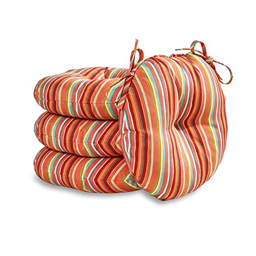Greendale Home Fashions 18 in. Round Outdoor Bistro Chair Cushion in Coastal Stripe (set of 4), - Bistro Seat Cushion Patio Chair