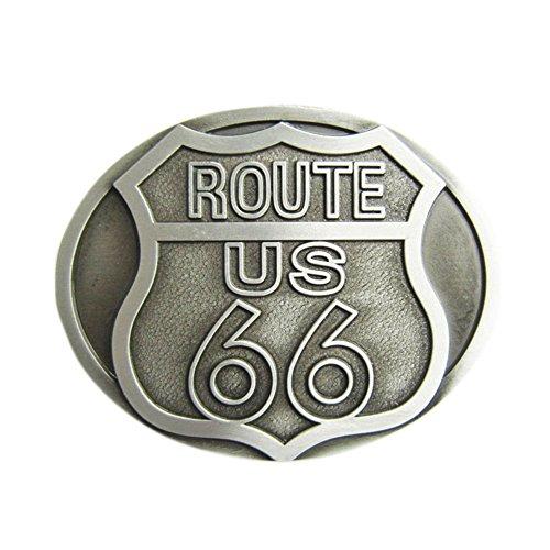New Vintage Route US 66 Motorcycle Biker Rider Oval Belt Buckle