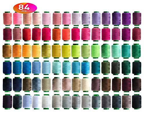 84 Colors Sewing Thread Assortment Coil 250 Yards Each,Sewing Kit All Purpose Polyester Thread for Hand (mix) (Thread Kit Polyester)