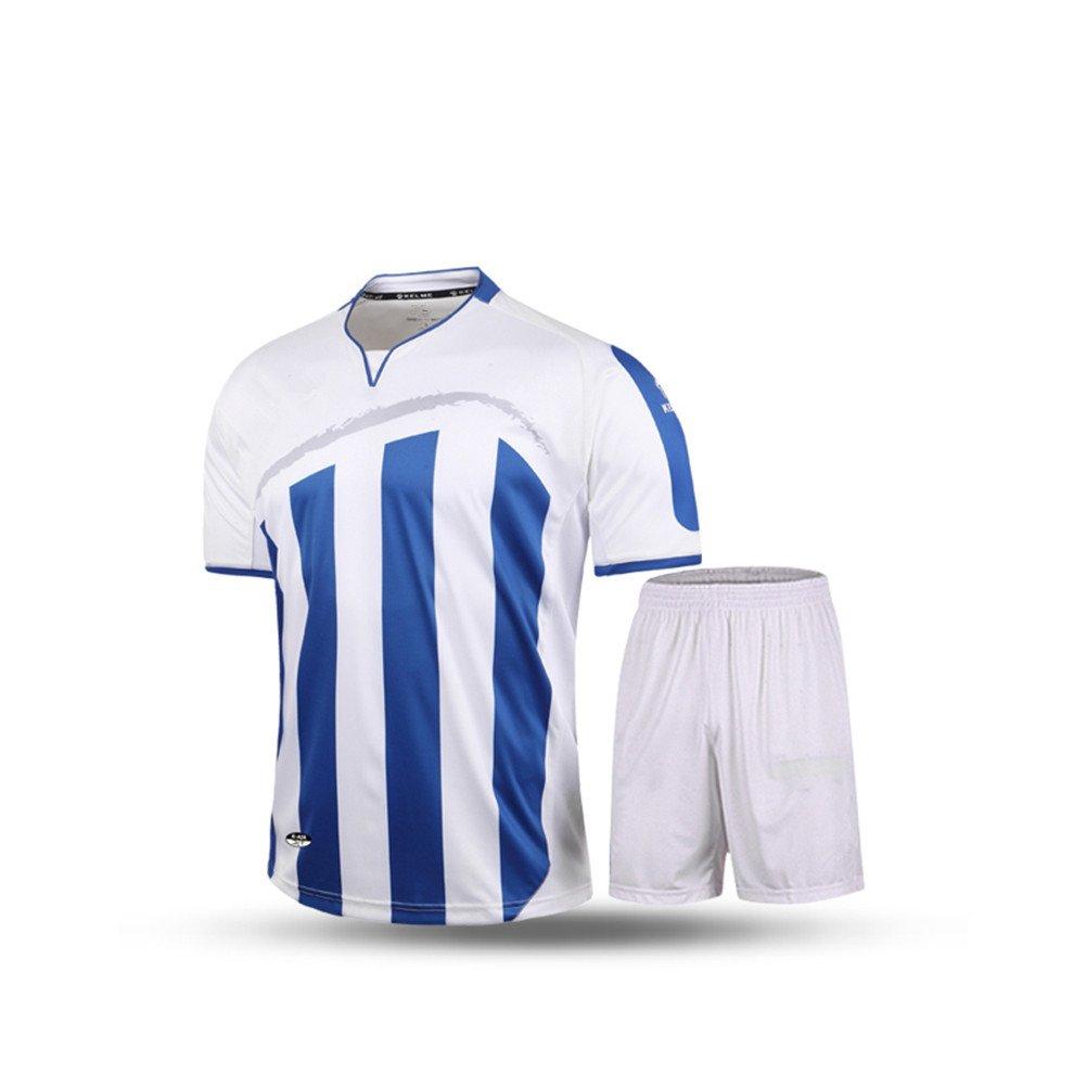 Kelme半袖サッカースポーツストライプUniform B01ELABAU8 Large|ホワイト/ブルー ホワイト/ブルー Large
