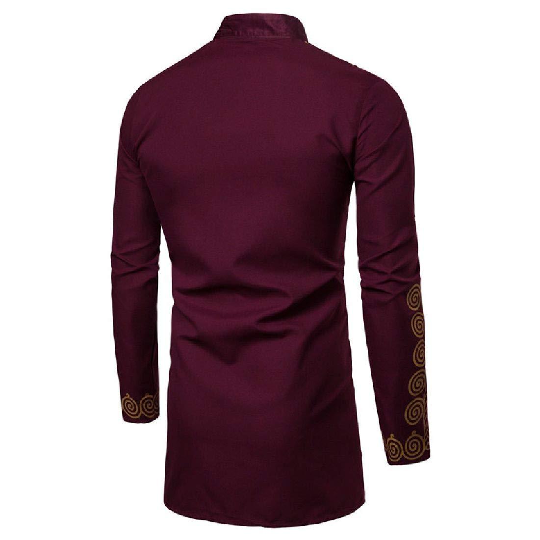Zantt Mens Luxury Dashiki African Print Longline Shirt Metallic Floral Ethnic Shirts