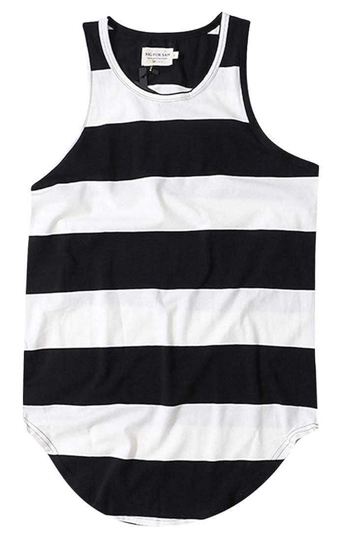 Alion Mens Sleeveless Color Block Casual Stripe Print Tank Top