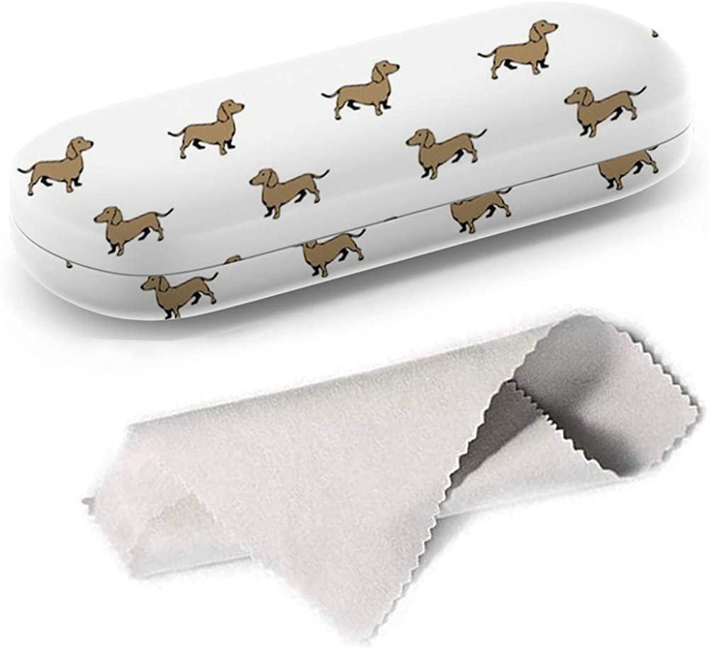 Hard Shell Glasses Protective Case with Cleaning Cloth for Eyeglasses and Sunglasses - Dachshund Dog Colorful