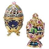Design Toscano FH1345The Royal Jardín catarina esmaltado huevo en lavanda, Set de 2, Multicolor, 1