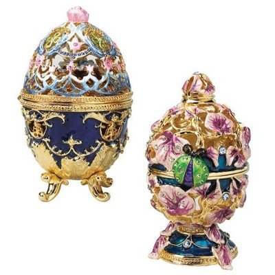 Design Toscano The Royal Garden Faberge-Style 2-Piece Enameled Egg Set by Design Toscano