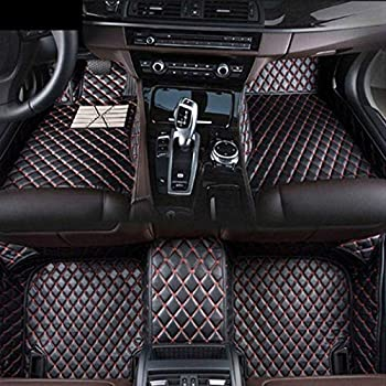 Image of Floor Mats 8X-SPEED Custom Car Floor Mats Fit for BMW 7 Series G11 G12 F01 F02 740i 740Li 745li 750i 750li 760i 2009-2012 Full Coverage All Weather Protection Waterproof Non-Slip Leather Liner Set Black Red