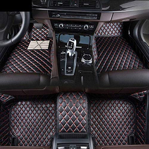 Custom Car Front and Rear Floor Mats Fit for Ford F150 2015-2019 Pickup 4 Door Full Coverage All Weather Protection Waterproof Non-Slip Anti-Scratch Leather Auto Floor Liner Carpet Set Black Red