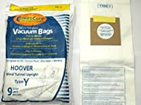 Hoover Part# 4010100Y - Type Y Vacuum Bag Replacement for Hoover WindTunnel Uprights and Hoover Vacuums Using Type Y or Type Z Bags by EnviroCare Part# 856-9 - 9/Package