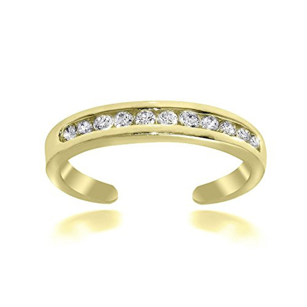 Silver Gems Factory 14k Yellow Gold Over Alloy Channel Cubic Zirconia CZ Toe Ring