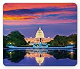 Lunarable American Mouse Pad, Washington US Congress Capitol Building Square Reflection on Lake Sunset View Image, Standard Size Rectangle Non-Slip Rubber Mousepad, Red Blue