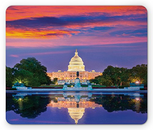 Lunarable American Mouse Pad, Washington US Congress Capitol Building Square Reflection on Lake Sunset View Image, Standard Size Rectangle Non-Slip Rubber Mousepad, Red Blue by Lunarable