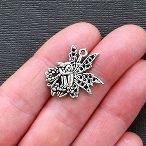 Great Selection 5 Fairy Charms Antique Silver Tone Woodland Nymph - SC1817 Build Your Designs