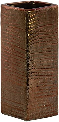 Urban Trends Ceramic Tall Square Ribbed Design Body Distressed Finish Copper Vase