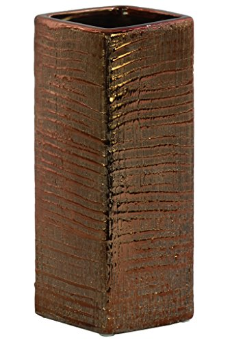 Contemporary Copper Vase - Urban Trends Ceramic Tall Square Ribbed Design Body Distressed Finish Copper Vase,